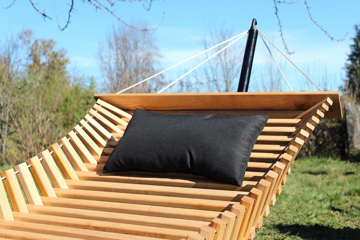FabsFurnitur e- Hamac Bois - Hamac bois avec Stand - oreiller de jardin